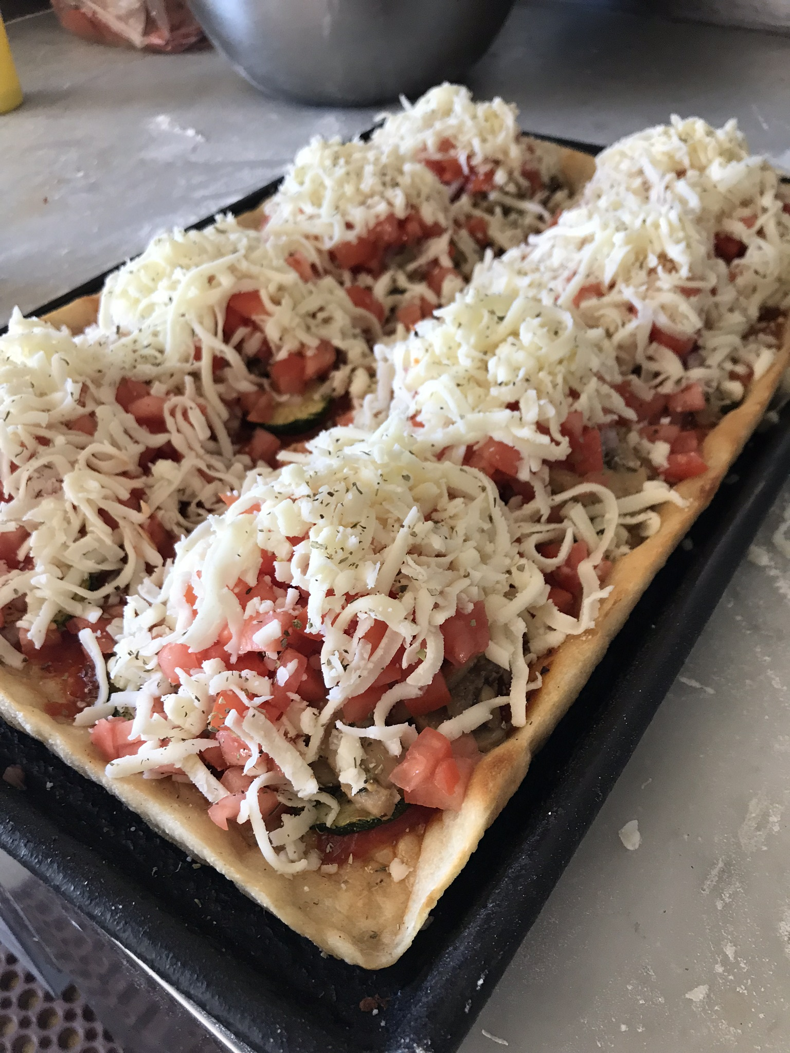 Fresca pizza step by step before baking
