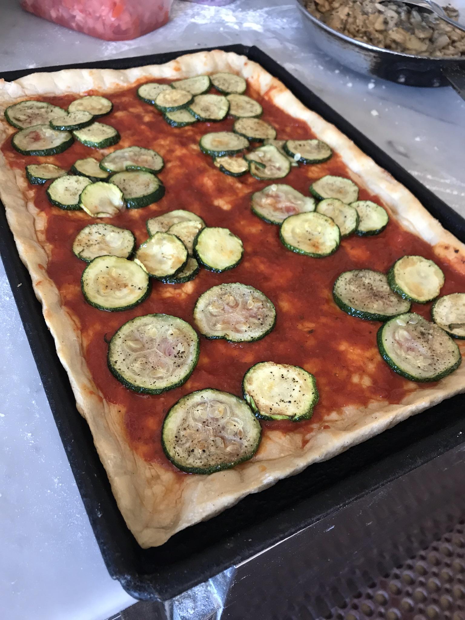 Fresca Pizza step by step adding Zucchini